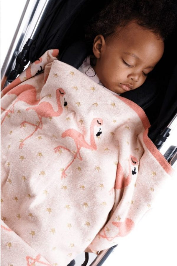 Blankets & Sleeping Bags Pink Flamingo knitted baby blanket Pitter Patter Baby NI 4