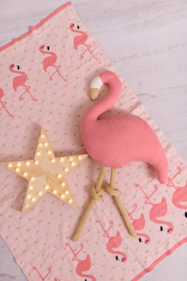 Blankets & Sleeping Bags Pink Flamingo knitted baby blanket Pitter Patter Baby NI 7