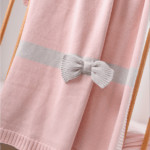 Pink Bow knitted blanket