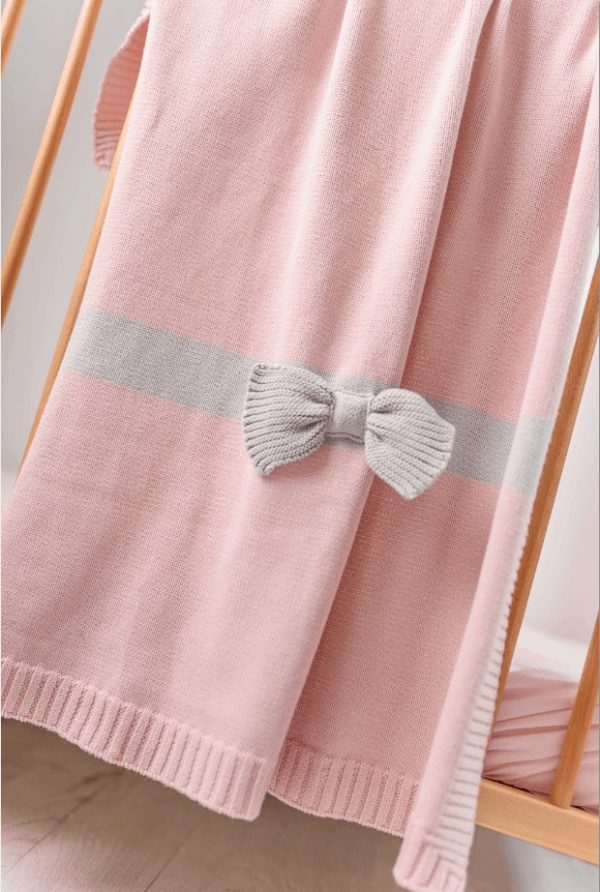 Baby Gifts Pink Bow knitted blanket Pitter Patter Baby NI 5