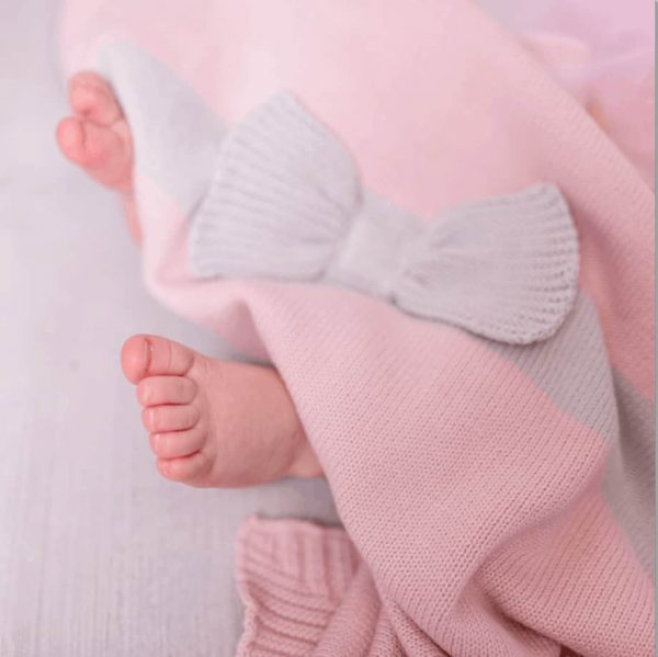 Baby Gifts Pink Bow knitted blanket Pitter Patter Baby NI 4