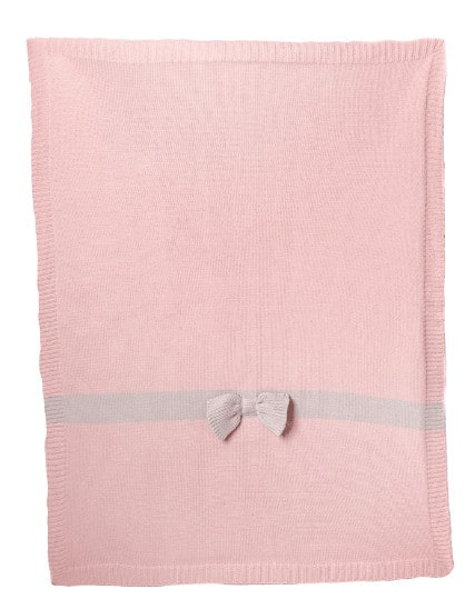 Baby Gifts Pink Bow knitted blanket Pitter Patter Baby NI 7