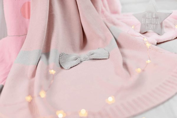 Baby Gifts Pink Bow knitted blanket Pitter Patter Baby NI 8