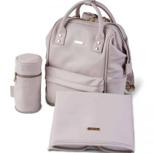 MANI VEGAN LEATHER BACKPACK CHANGING BAG – BLUSH GREY