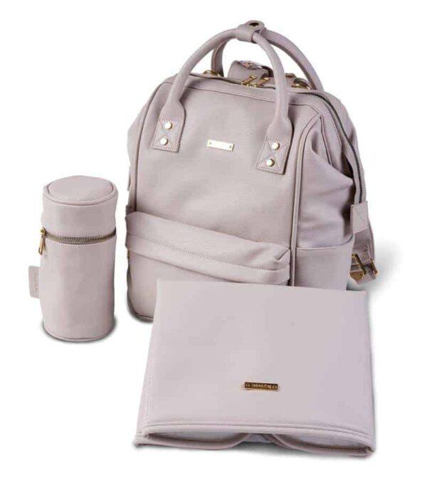 Changing Bags MANI VEGAN LEATHER BACKPACK CHANGING BAG – BLUSH GREY Pitter Patter Baby NI 4