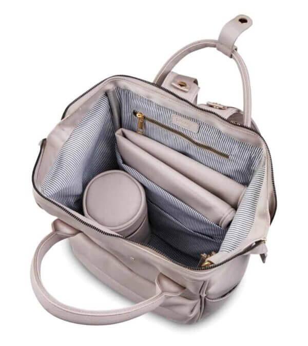 Changing Bags MANI VEGAN LEATHER BACKPACK CHANGING BAG – BLUSH GREY Pitter Patter Baby NI 9