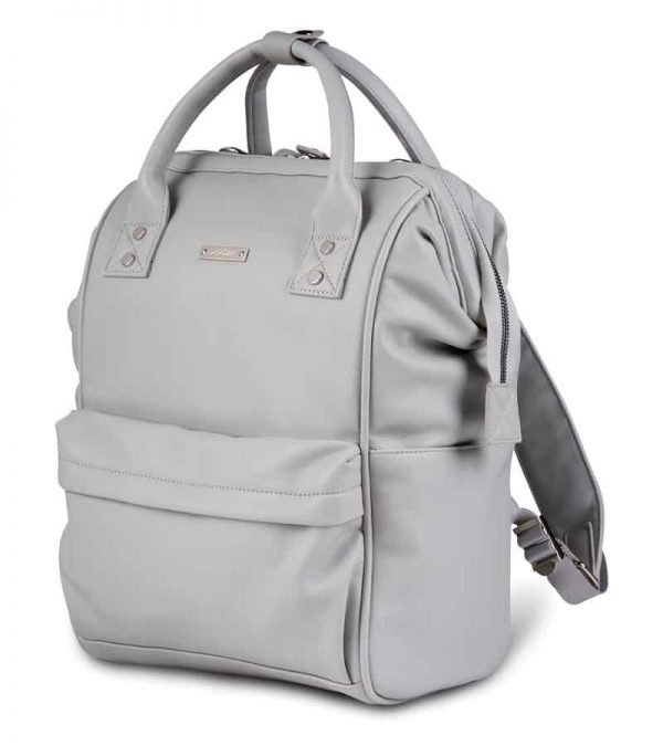 Changing Bags MANI VEGAN LEATHER BACKPACK CHANGING BAG – DOVE GREY Pitter Patter Baby NI 5