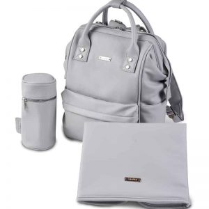 MANI VEGAN LEATHER BACKPACK CHANGING BAG – DOVE GREY