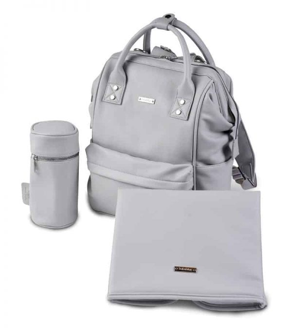 Changing Bags MANI VEGAN LEATHER BACKPACK CHANGING BAG – DOVE GREY Pitter Patter Baby NI 4