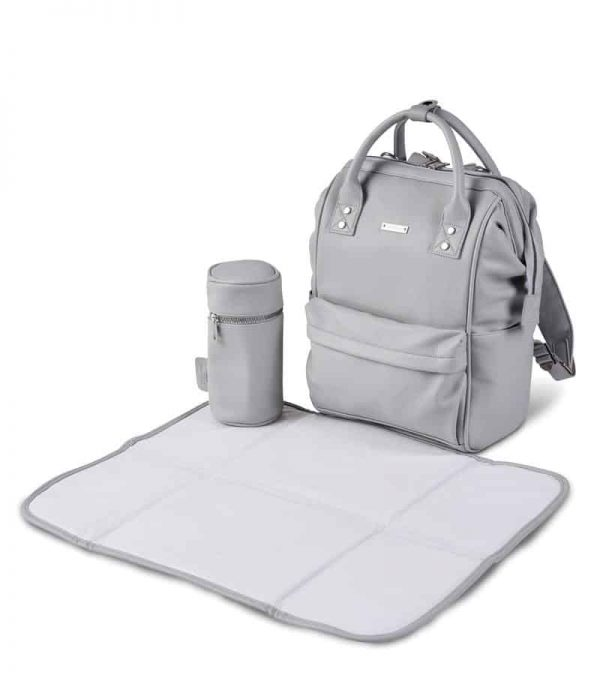 Changing Bags MANI VEGAN LEATHER BACKPACK CHANGING BAG – DOVE GREY Pitter Patter Baby NI 8