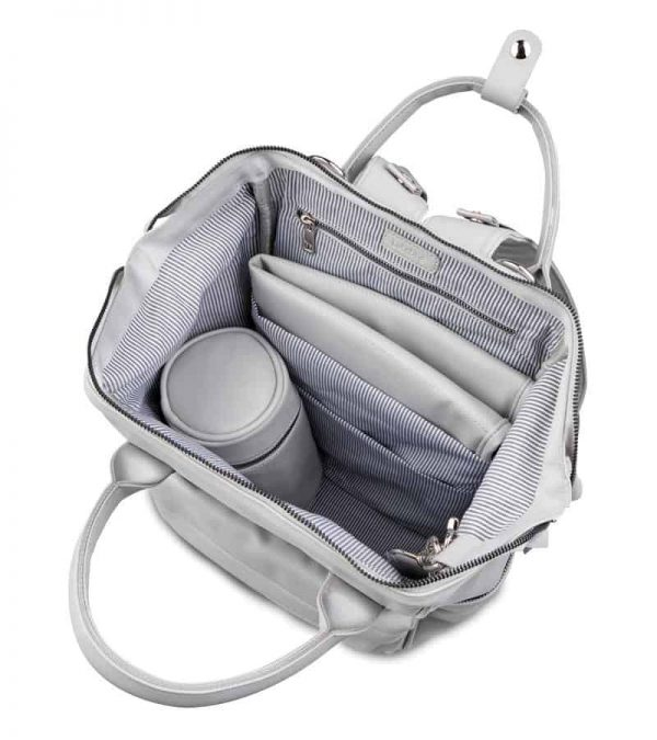 Changing Bags MANI VEGAN LEATHER BACKPACK CHANGING BAG – DOVE GREY Pitter Patter Baby NI 9