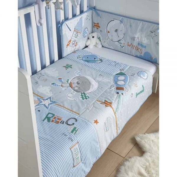 Bedding Sets Forty Winks Cot/Cot Bed quilt & bumper bedding Set Pitter Patter Baby NI 5