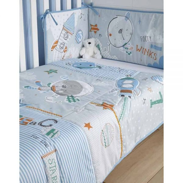 Bedding Sets Forty Winks Cot/Cot Bed quilt & bumper bedding Set Pitter Patter Baby NI 6
