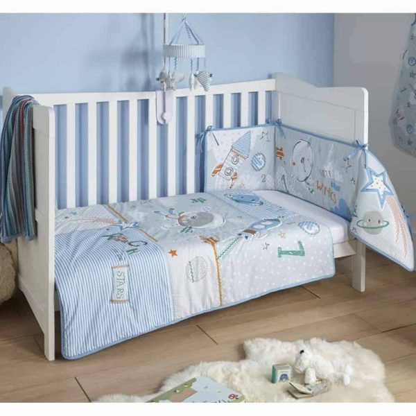 Bedding Sets Forty Winks Cot/Cot Bed quilt & bumper bedding Set Pitter Patter Baby NI 4