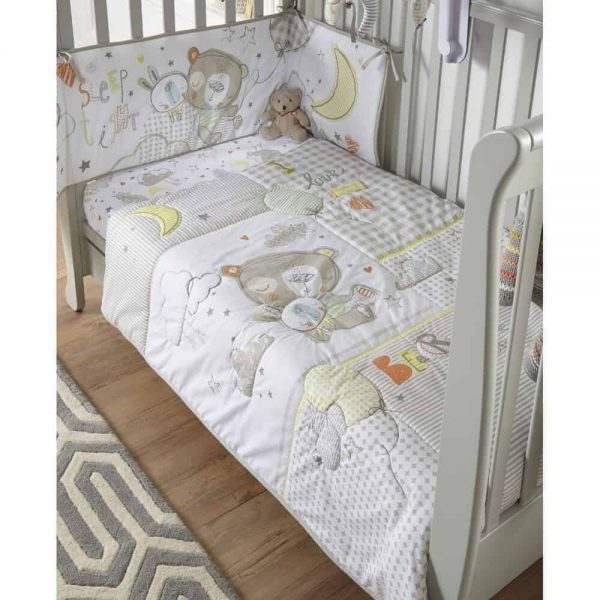 Bedding Sleep Tight Cot/Cot Bed Quilt & Bumper Bedding Set Pitter Patter Baby NI 4