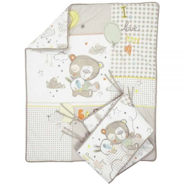 Bedding Sleep Tight Cot/Cot Bed Quilt & Bumper Bedding Set Pitter Patter Baby NI 7
