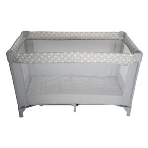 My Babiie Grey Stars Travel Cot