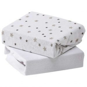 Sheets & Protectors 2 Pack Sheets Grey Star – Travel Cot Pitter Patter Baby NI