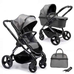Peach Pushchair and Carrycot Grey Twill on Phantom with Bag