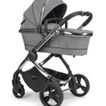 Peach Pushchair and Carrycot – Chrome Light Grey Check