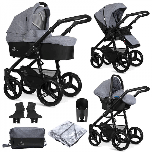 Travel Systems Venicci Soft Med Grey with black chassis Pitter Patter Baby NI 8