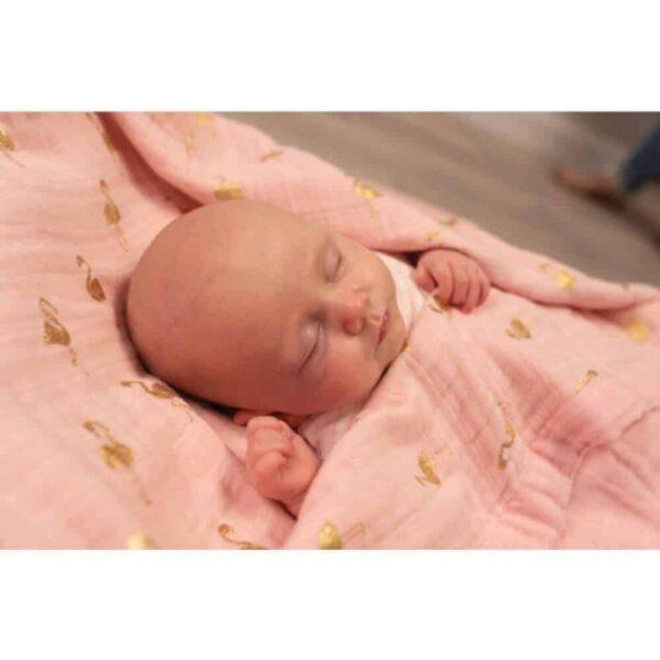 Blankets & Sleeping Bags Muslin Blanket- Gold Flamingos Pitter Patter Baby NI 4
