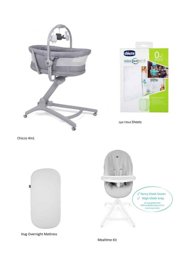 Moses Baskets & Stands Chicco 4in1 Hug Air Titanium Bundle Pitter Patter Baby NI 4