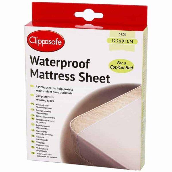 Sheets & Protectors Clippasafe Waterproof Mattress Sheet Pitter Patter Baby NI 3