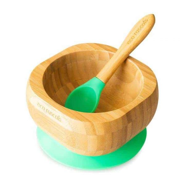 Dinner sets Bamboo baby suction bowl and spoon set Pitter Patter Baby NI 4