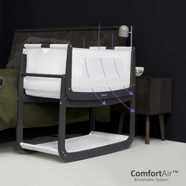 Cribs & Next2Me Cribs SnuzPod4 Bedside Crib Slate Pitter Patter Baby NI 7