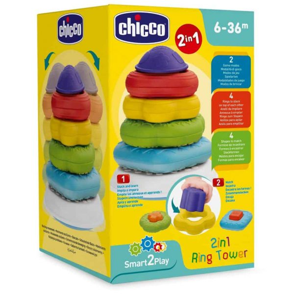 sensory toys Chicco 2-in-1 Ring Tower Pitter Patter Baby NI 4
