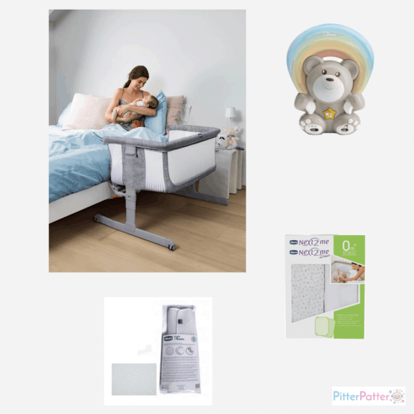 Cribs & Next2Me Cribs Chicco Next2Me Air Bedside Crib Sleeptime Bundle Pitter Patter Baby NI 4