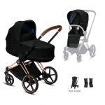 Travel Systems Cybex Priam rose gold chassis – deep black Pitter Patter Baby NI 2