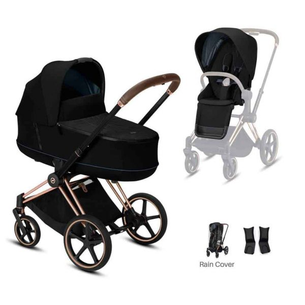 Travel Systems Cybex Priam rose gold chassis – deep black Pitter Patter Baby NI 4