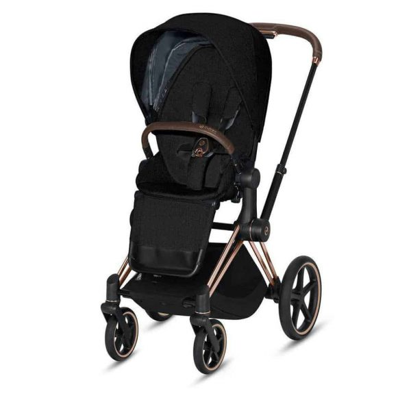 Travel Systems Cybex Priam rose gold chassis – deep black Pitter Patter Baby NI 6