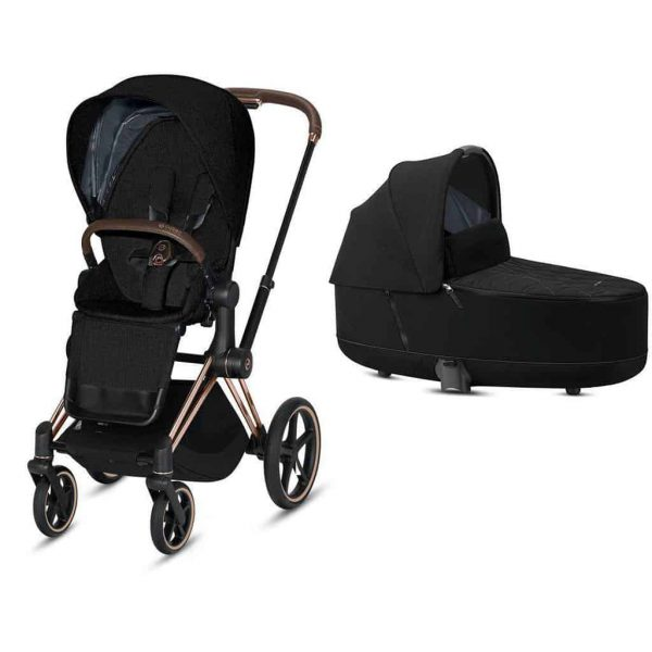Travel Systems Cybex Priam rose gold chassis – deep black Pitter Patter Baby NI 7