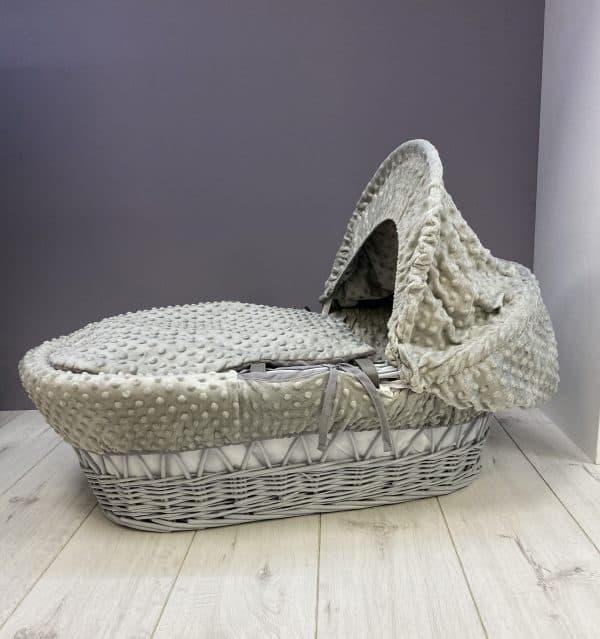 Moses Baskets & Stands Cuddles Collection Grey wicker basket with grey dimples Pitter Patter Baby NI 5