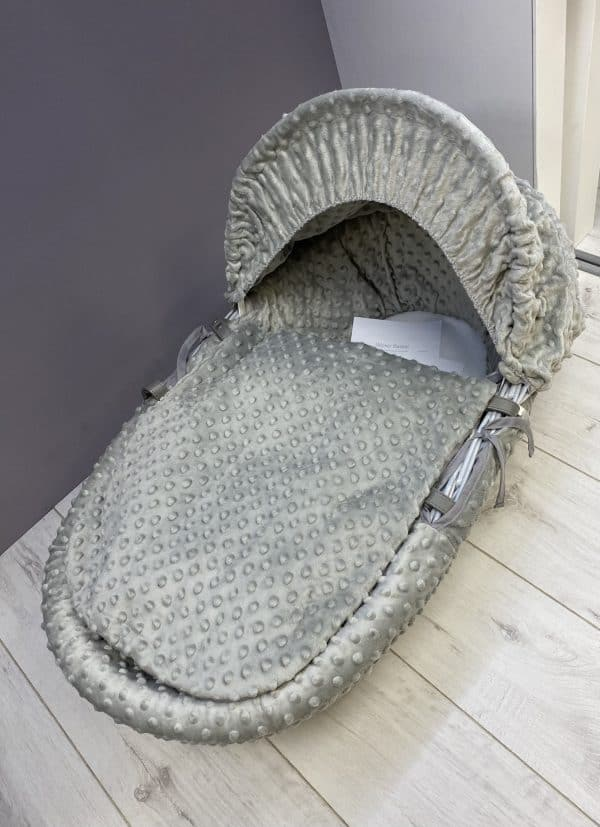 Moses Baskets & Stands Cuddles Collection Grey wicker basket with grey dimples Pitter Patter Baby NI 6