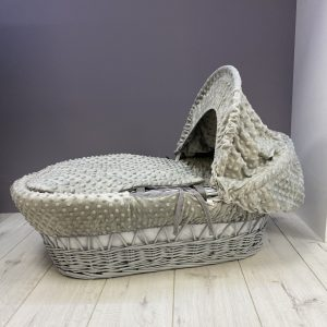 Moses Baskets & Stands Cuddles Collection Grey wicker basket with grey dimples Pitter Patter Baby NI
