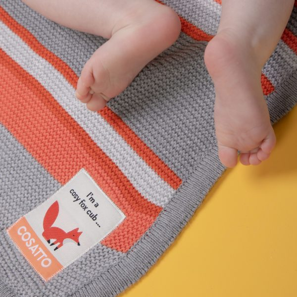 Blankets & Sleeping Bags Cosatto Knitted Stripe Blanket – Grey/Orange Pitter Patter Baby NI 5
