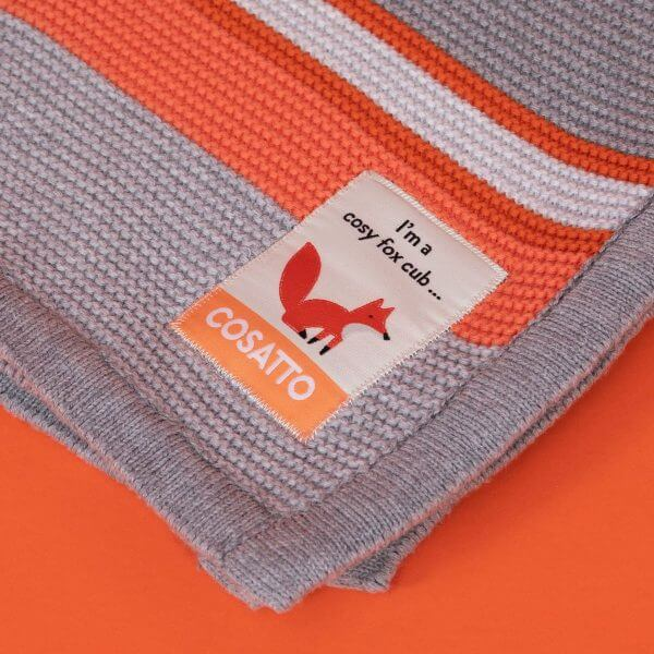 Blankets & Sleeping Bags Cosatto Knitted Stripe Blanket – Grey/Orange Pitter Patter Baby NI 6