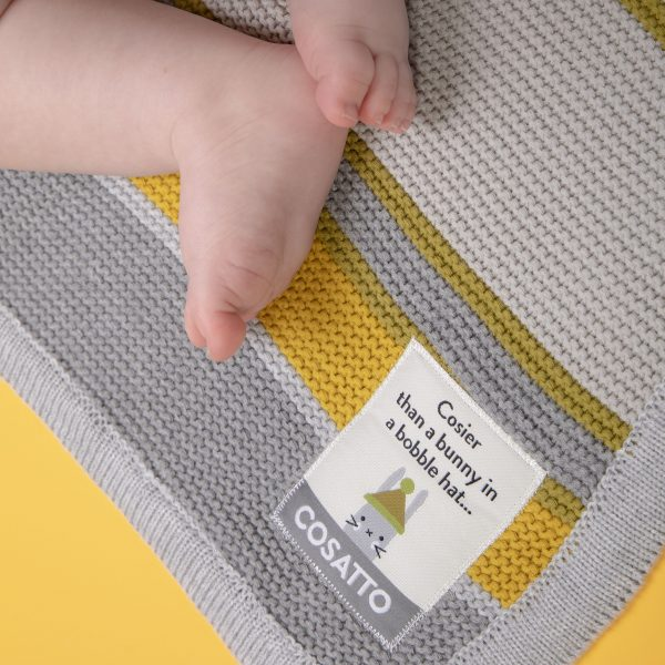 Blankets & Sleeping Bags Cosatto Knitted Stripe Blanket – Grey/Yellow Pitter Patter Baby NI 6