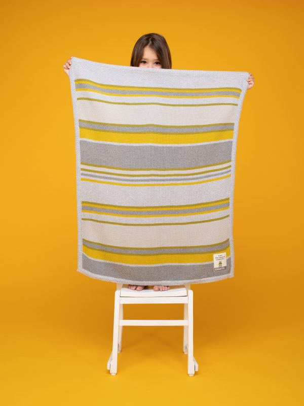 Blankets & Sleeping Bags Cosatto Knitted Stripe Blanket – Grey/Yellow Pitter Patter Baby NI 4